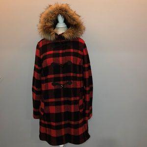 LL Bean Fur Hood Buffalo Plaid Wool Coat L